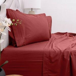 Super Soft 4 Piece Bed Sheet Set Deep Pockets Red